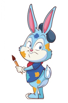 Artiste de célébration mignon lapin de pâques isolé