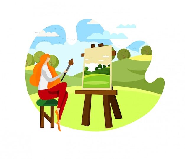 Artiste féminine assise sur une chaise devant le chevalet.