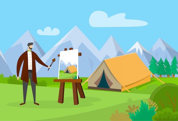 Artiste masculin travaillant sur la peinture en plein air.