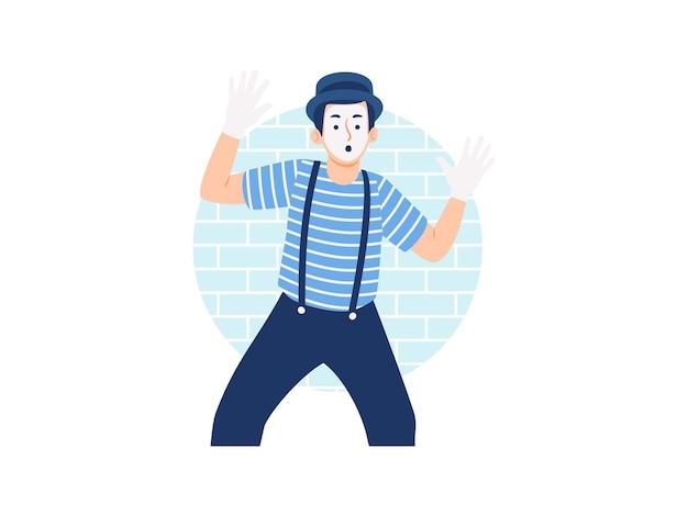 Un artiste mime masculin acteurs du théâtre de pantomime en chemise rayée