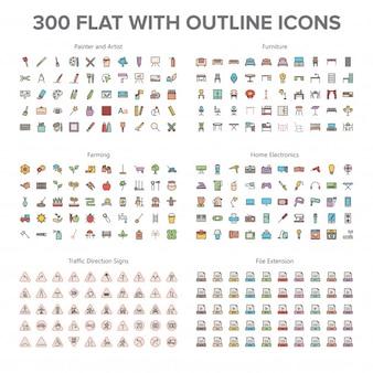 Artiste, mobilier, agriculture, électronique grand public et panneaux de signalisation 300 plats avec icônes de contour