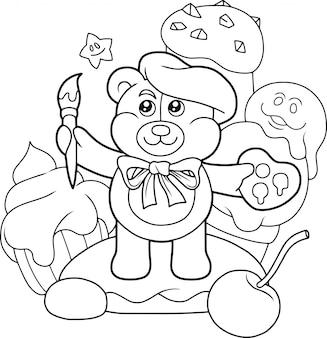 Artiste ours en peluche