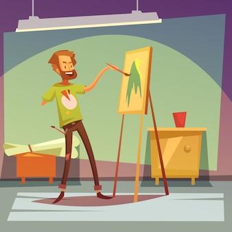 Artiste peignant sans main droite