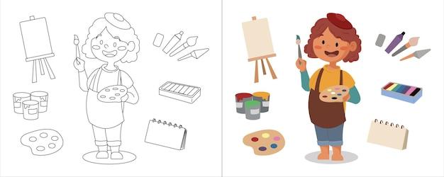 Artiste peintre d'illustration de livre de coloriage pour enfants avec son équipement