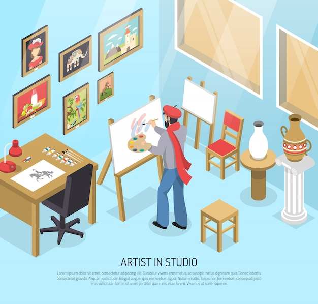 Artiste en studio isométrique illustration