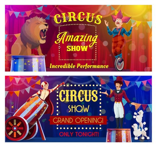 Les artistes de cirque du spectacle de carnaval de chapiteau