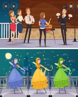 Artistes de rue plats compositions de dessins animés