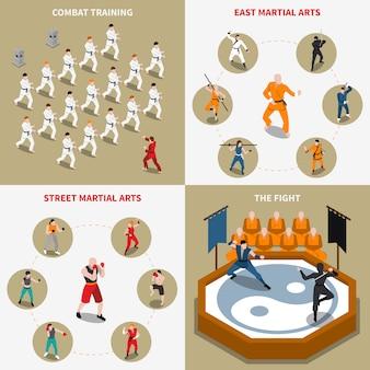 Arts martiaux personnes isométrique 2x2 set d'icônes