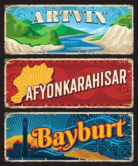 Artvin, afyonkarahisar, bayburt il, turquie provinces plaques ou bannières vintage