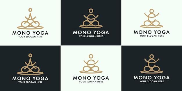 As de lettre de collection de logo de yoga créatif