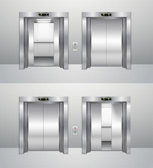 Ascenseur fermé et ouvert.