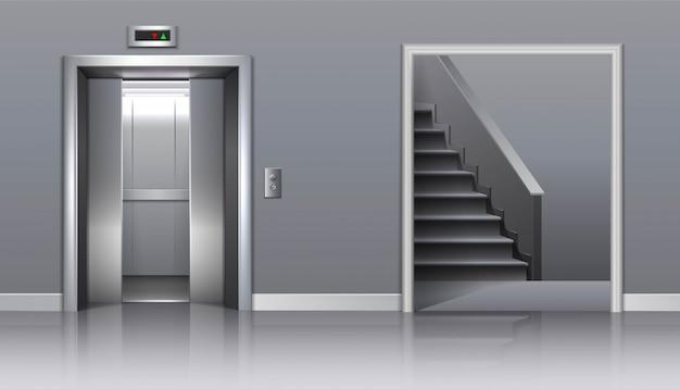 Ascenseur immeuble de bureaux avec portes et escaliers à moitié fermés.
