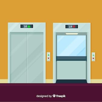 Ascenseur avec porte ouverte et fermée au design plat