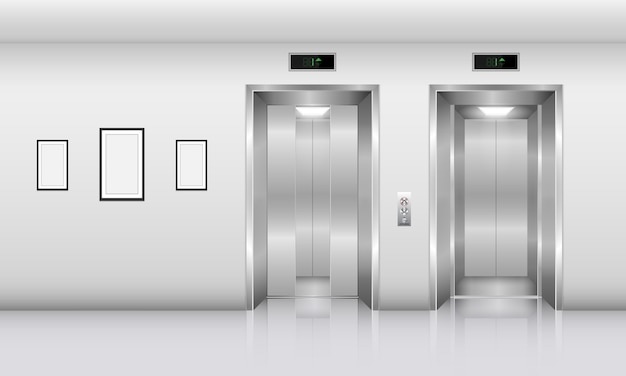 Ascenseur réaliste dans un immeuble de bureaux., concept d'intérieur