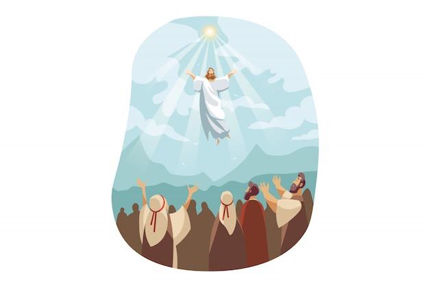 Ascension De Jésus-christ, Concept De La Bible Vecteur Premium