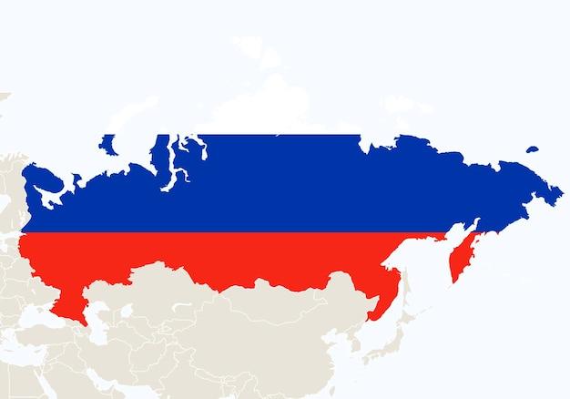 Asie avec la carte de la russie en surbrillance. illustration vectorielle.