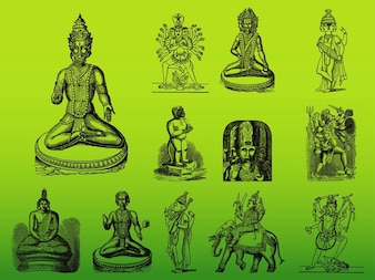 Asie dieux hindous silhouettes vecteur