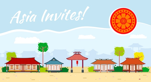 Asie illustration culture orientale, tourisme traditionnel