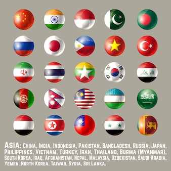 Asie ronde bouton drapeaux un