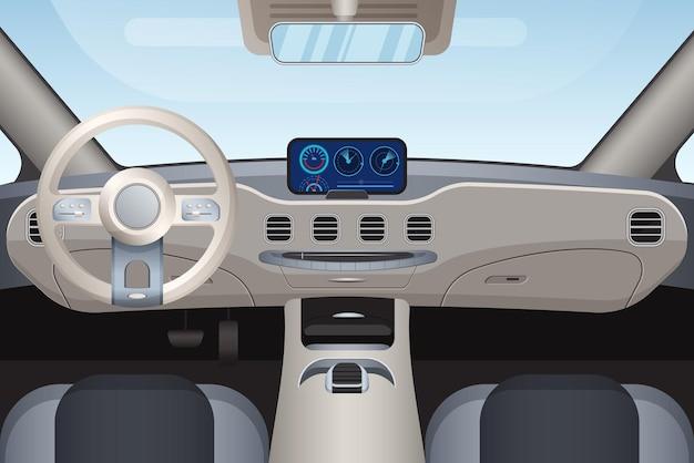 Aspect intérieur réaliste du véhicule haut de gamme