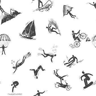Aspect sportif extrême sketch seamless pattern of snorkeling surfing climbing illustration vectorielle.