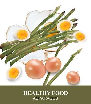 Asperges et oeufs nourriture saine