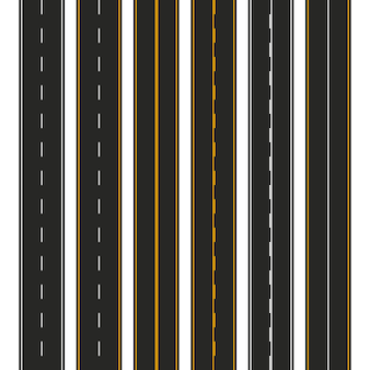 Asphalte. ensemble de types de routes avec marquages. modèle de bande de route pour infographie. illustration