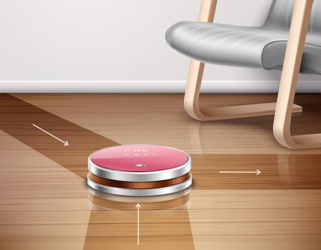 Aspirateur robot en marche avec sens de déplacement sur parquet