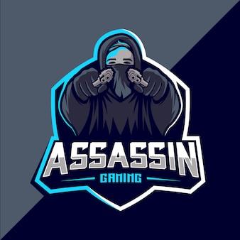 Assassin avec création de logo esport mascotte pistolet