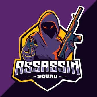 Assassin avec création de logo esport mascotte pistolets