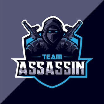 Assassin avec pistolet mascotte esport logo design