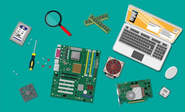 Assemblage du pc. matériel informatique personnel.