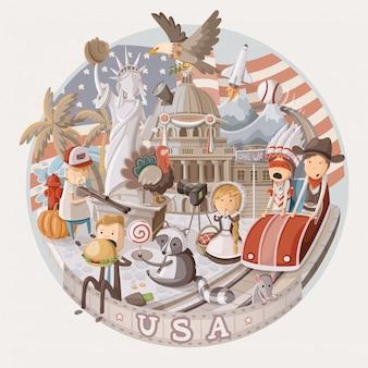 Assiette avec des articles des états-unis. illustration