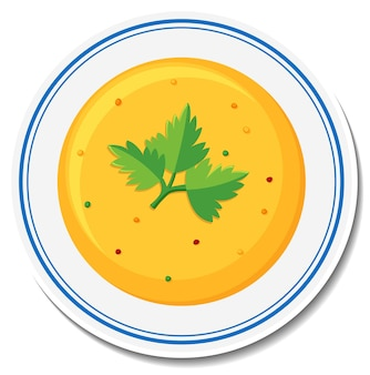 Assiette d'autocollant de soupe sur fond blanc