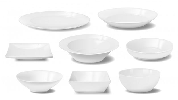 Assiette blanche, plat et bol de nourriture maquettes réalistes