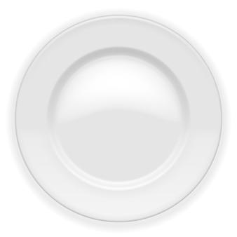 Assiette blanche réaliste isolée