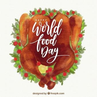Assiette de dinde sur une journée mondiale de l'alimentation