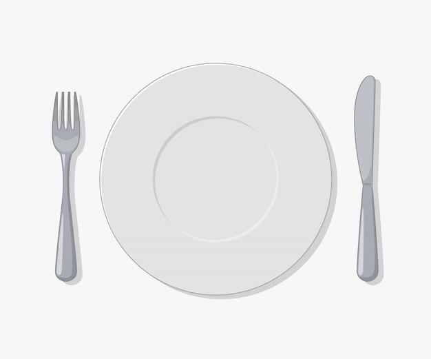 Assiette, fourchette et couteau objet vectoriel sur blanc