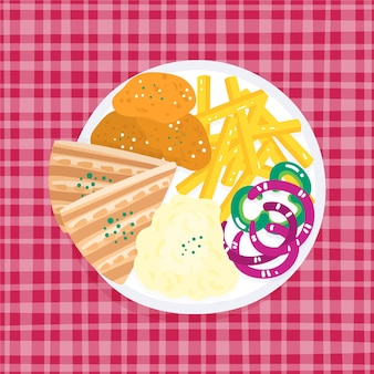 Assiette avec frites et sandwichs