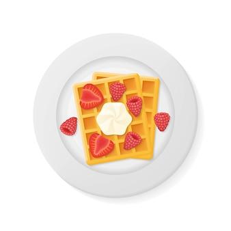 Assiette avec des gaufres belges aux framboises, fraises et crème isolé. illustration vue de dessus.
