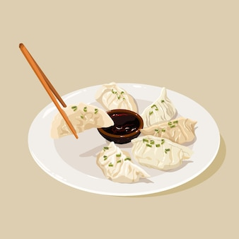 Assiette avec gyozas au design plat