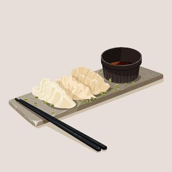 Assiette avec gyozas et baguettes au design plat
