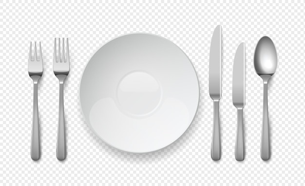 Assiette de nourriture réaliste avec cuillère, couteau et fourchette. plats vides blancs sur fond transparent