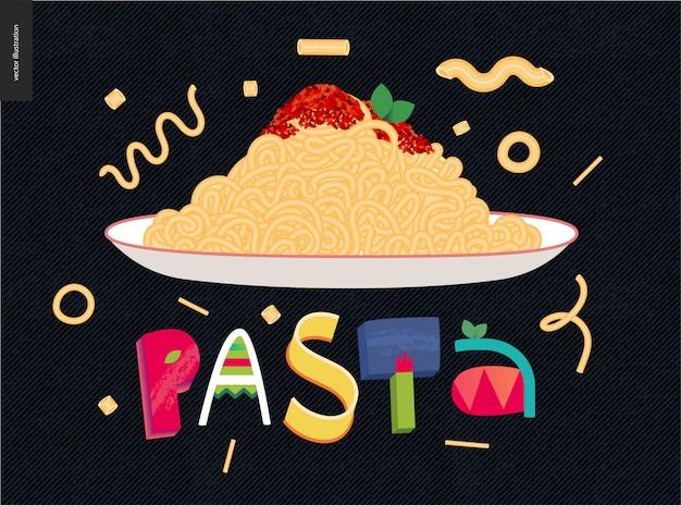 Assiette de pâtes colorées