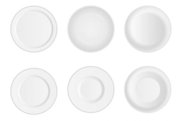 Assiette ronde, ustensile à soupe en porcelaine, bol.