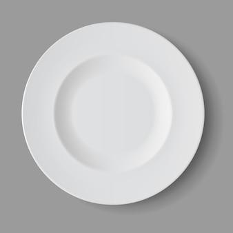 Assiette à soupe ronde vide blanc isolé, vue du dessus
