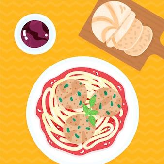 Assiette avec spaghetti et boulettes de viande