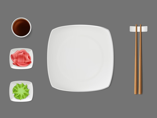 Assiette de sushi, sauces sur les soucoupes vecteur réaliste