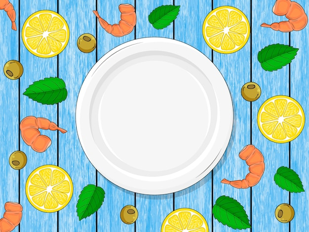 Assiette vide sur fond bleu bois, citrons, piment, crevettes. dessiné à la main.