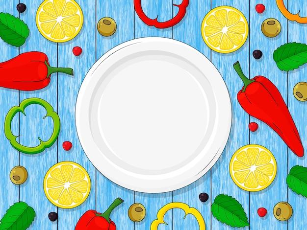 Assiette vide sur fond bleu bois, citrons, piment, poivre. dessiné à la main.